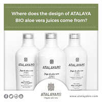 Where does the design of ATALAYA BIO aloe vera juices come from?