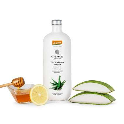 Organic Aloe Vera Juice (96%), with Honey and Lemon. Not filtered. 700 ml.