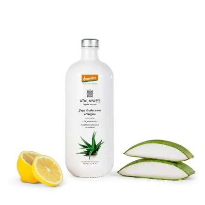 """Organic aloe vera juice (99%) with lemon. """"In conversion to demeter"""" certified. Not filtered. To drink. 700 ml."""